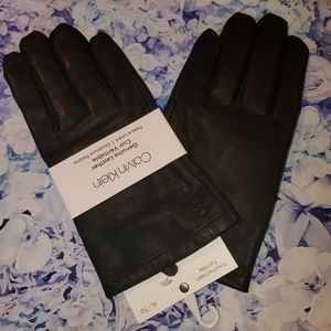 Nwt calvin Klein leather gloves lined mens